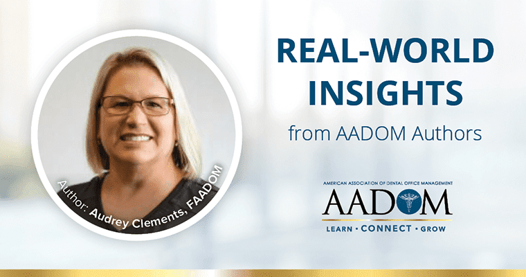 """Audrey Clements, FAADOM with text, """"Real-world insights from AADOM authors"""""""