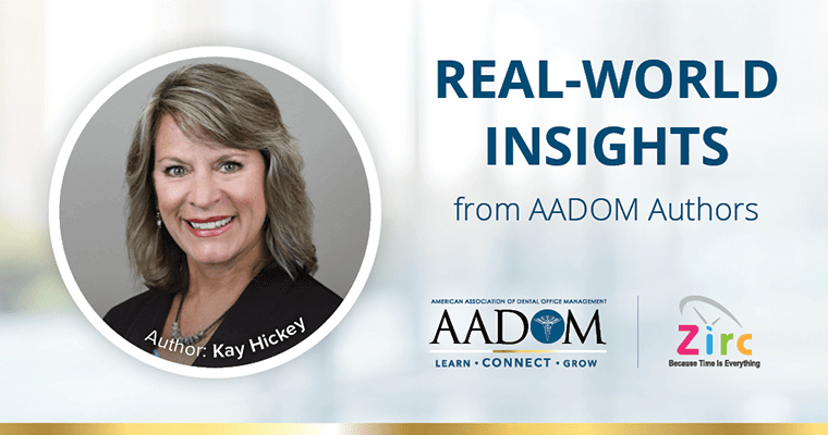 """Kay Hickey conveying advice on how to improve efficiency in workplace with text, """"Real-world insights from AADOM authors"""""""