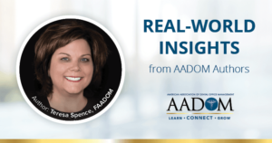 """Teresa Spence, FAADOM with text, """"Real-world insights from AADOM authors"""""""
