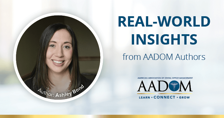 """Ashley Bond with text, """"Real-world insights from AADOM authors"""""""
