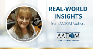 """Sharon Garner, MAADOM with text, """"Real-world insights from AADOM authors"""""""