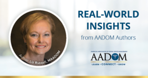 """Liz Russell, MAADOM with text, """"Real-world insights from AADOM authors"""""""