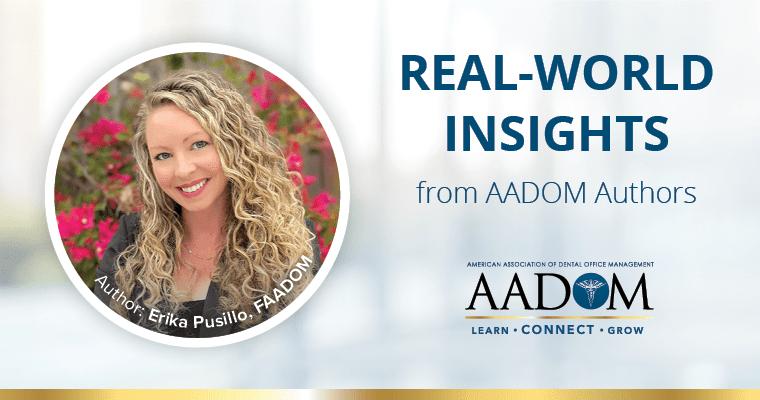 "Erika Pusillo, FAADOM with text, ""Real-world insights from AADOM authors"""