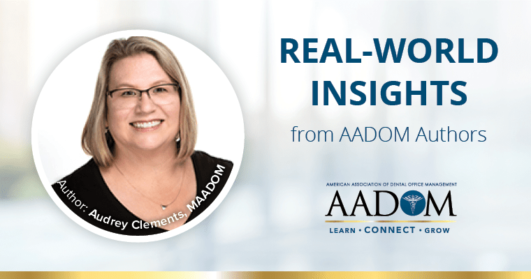 """Audrey Clements, MAADOM with text, """"Real-world insights from AADOM authors"""""""