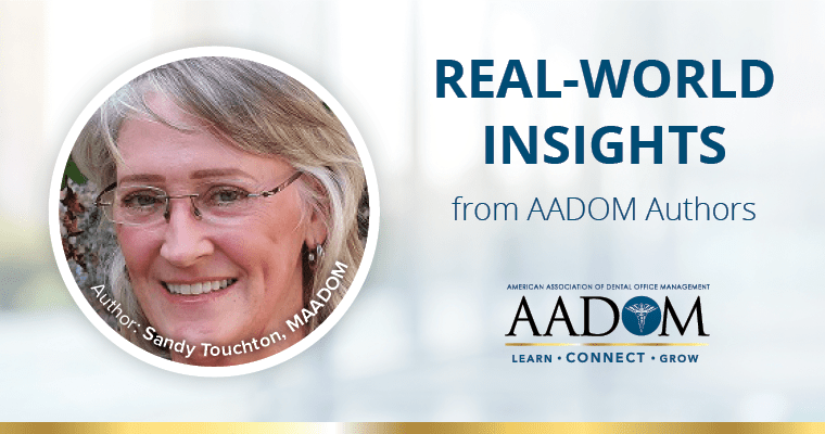 """Sandy Touchton, MAADOM with text, """"Real-world insights from AADOM authors"""""""